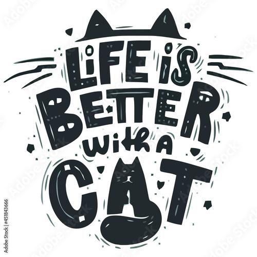 better with a cat art vector design illustration print wall art poster canvas Fototapeta