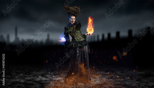 Tela scary dark witch conjuring a spell