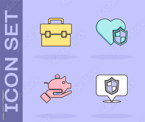 Foto Set Location shield, Briefcase, Piggy bank in hand and Life insurance with icon