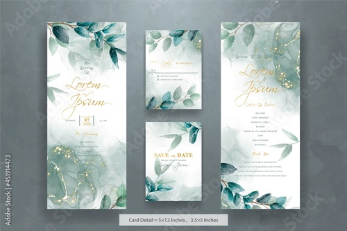 Set of Elegant Wedding invitation Template with Hand drawn floral and watercolor Fotobehang