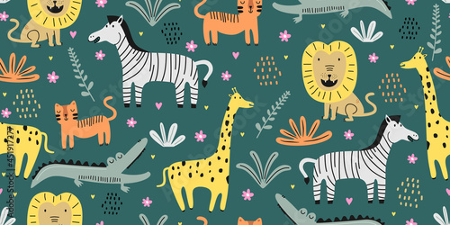 Fototapeta premium Cute animal seamless pattern with jungle drawing. Hand drawn floral animal seamless pattern on the white background. Exotic jungle wallpaper.