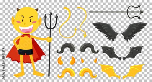 Stampa su Tela Set of devil and angel object decor