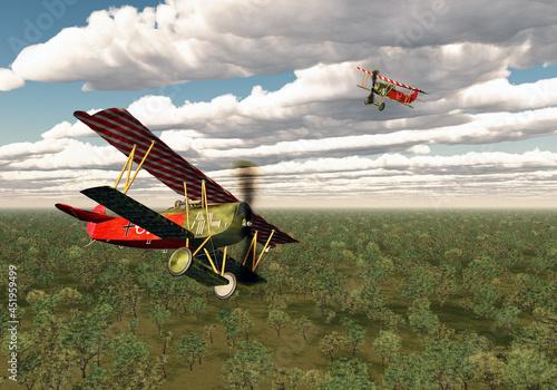 Canvas Deutsche Jagdflugzeuge aus dem ersten Weltkrieg