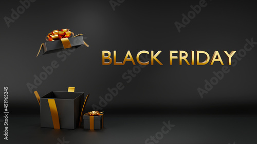 Black Friday Holiday Concept. Black gifts boxes and open empty space gift box present for you put festive object