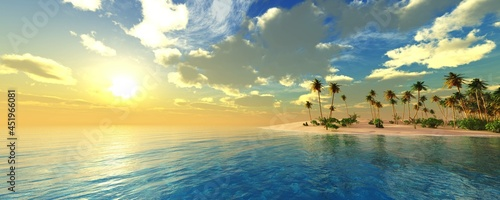 Tropical island in the ocean at sunset, island with palm trees in the sea at sunset, sunrise over a tropical island,, 3d rendering