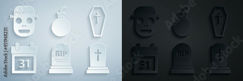 Obraz na plátně Set Tombstone with RIP, Coffin christian cross, Calendar Halloween date 31 october, Bomb ready explode and Zombie mask icon