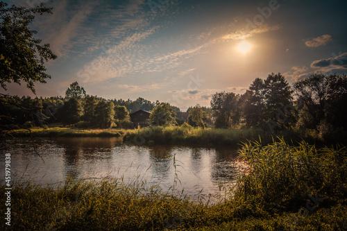 Obraz na plátně Summer day on the river, bird's eye view.