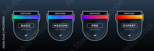 certified shield badge for professional business in colorful shape Fotobehang