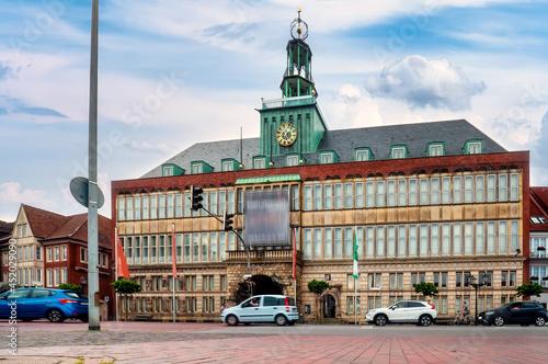 Fotografia, Obraz Town hall near the harbor in Emden, Lower Saxony, Germany