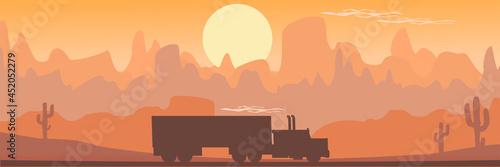 Obraz na plátně Truck on interstate. Red semi truck driving through Southwest