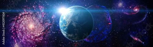 Fotografie, Obraz Planet Earth in dark outer space