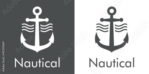 Carta da parati Logotipo con texto Nautical y silueta de ancla de barco con olas en fondo gris y