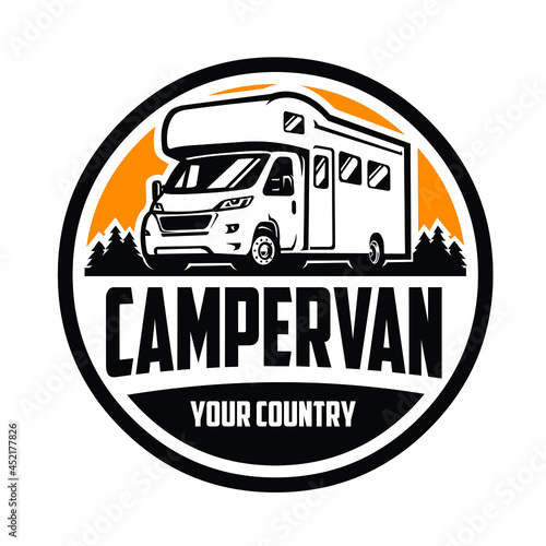 Slika na platnu Camper Van Logo Design. Ready Made Logo Motorhome