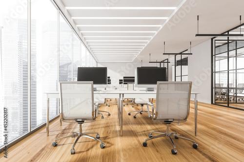 Obraz na płótnie Open space office interior with combination office desks, white