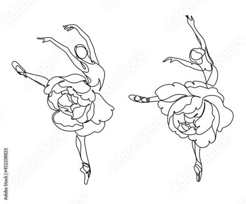 Canvastavla Ballet Dancer ballerina with peony flowers.