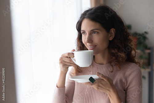 Valokuva Smiling young woman standing in living room looks out window planning visualizing future, enjoy morning fresh brewed tea