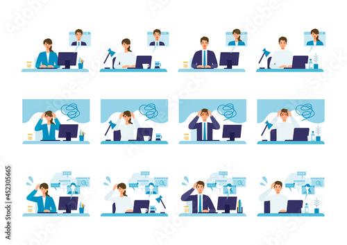 Vector illustration of people having communication via telecommuting system Fototapeta