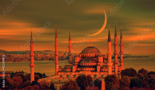 Obraz na plátně Vintage old photo concept - The Blue Mosque with crescent moon (new moon) -Sultanahmet, Istanbul, Turkey