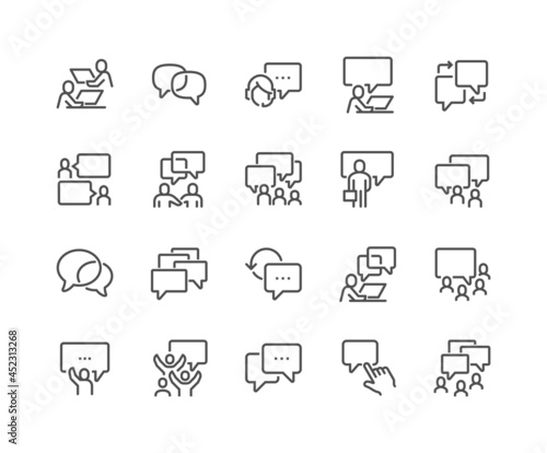 Tela Simple Set of Business Communication Related Vector Line Icons