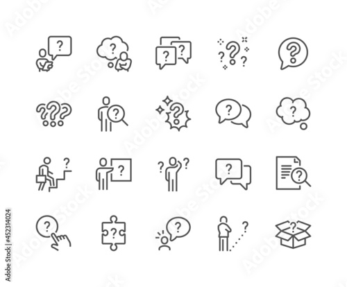 Photo Simple Set of Question Related Vector Line Icons