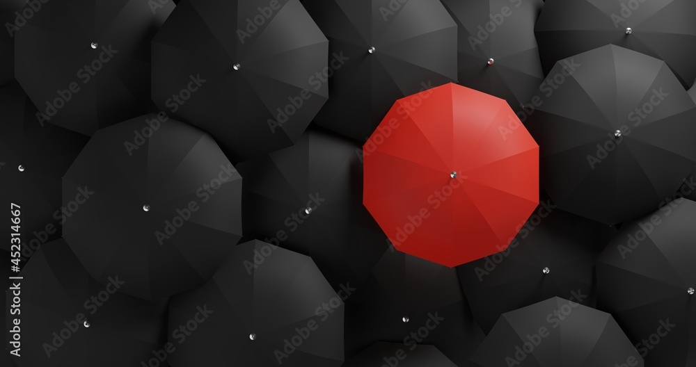3D illustration Different, unique and standing out of the crowd red umbrella - obrazy, fototapety, plakaty