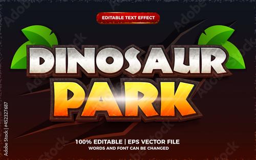 Fototapeta dinosaur park editable text effect 3d cartoon game template style