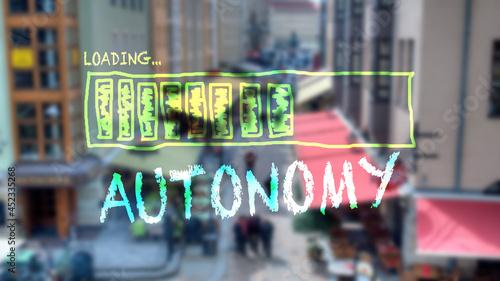 Fotografie, Obraz Street Sign to Autonomy