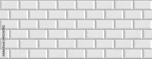 Fotografiet White colored brick ceramic tiles