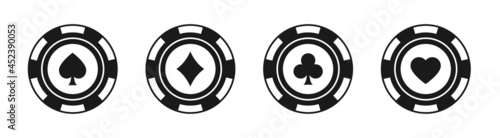 Foto Poker chips black icons vector set