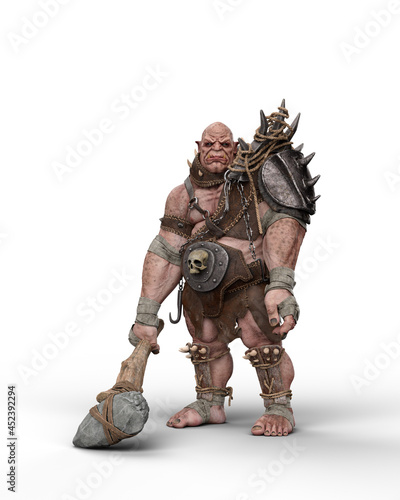 Fotografia 3D rendering of a fantasy ogre character standing wearing armour and holding a large club isolated on a white background