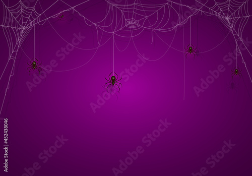 Fotografija Purple Halloween Background with Spiders