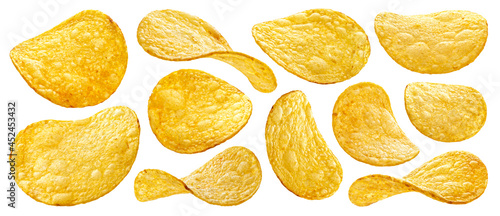 Foto Natural potato chips isolated on white background
