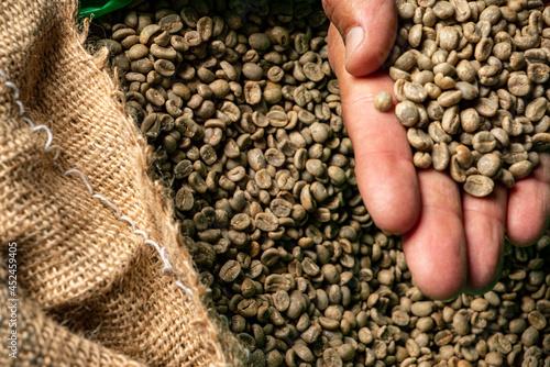 green unroasted coffee beans closeup Fototapet