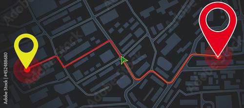 Obraz na plátně Abstract dark map background with location marks
