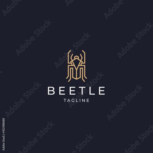 Tableau sur Toile Luxurious beetle logo icon design template flat vector