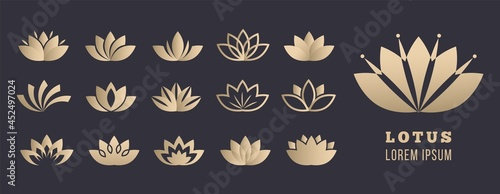 Lotus logo set. Yoga meditation, wellbeing and relaxation symbols. Golden simple flowers, healthcare and lifestyle vector icons #452497024