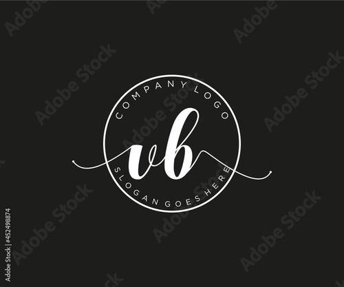 Fotografie, Obraz initial VB Feminine logo beauty monogram and elegant logo design, handwriting logo of initial signature, wedding, fashion, floral and botanical with creative template