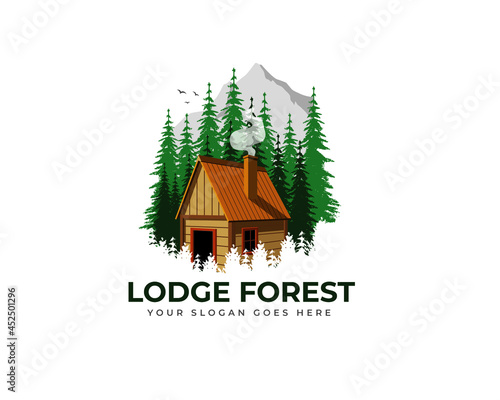 Fotografija wood cabin logo vector graphic with chimney, smoke, birds, pines and mountain fo