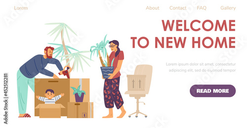 Fotografiet Welcome to new home website with new settlers, flat vector illustration
