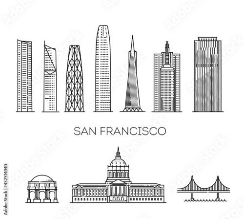 Obraz na plátně San Francisco detailed monuments silhouette. Vector illustration
