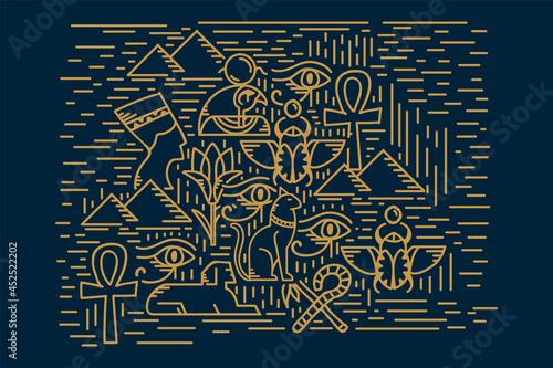 Obraz na plátně Egyptian elements poster gold
