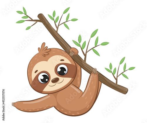 Fototapeta premium Cute sloth hanging on a tree branch.Cartoon vector illustration.