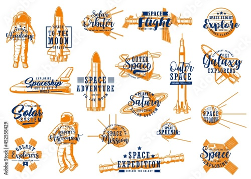 Foto Space rockets, spaceman galaxy expedition to planets of solar system, vector lettering icons