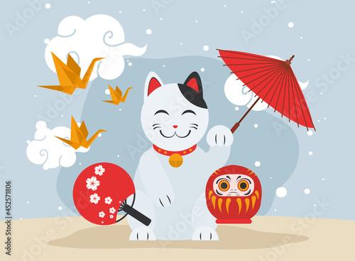 Tela japanese cat with daruma doll