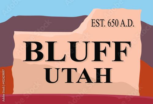 Valokuvatapetti Utah Bluff with hillside view