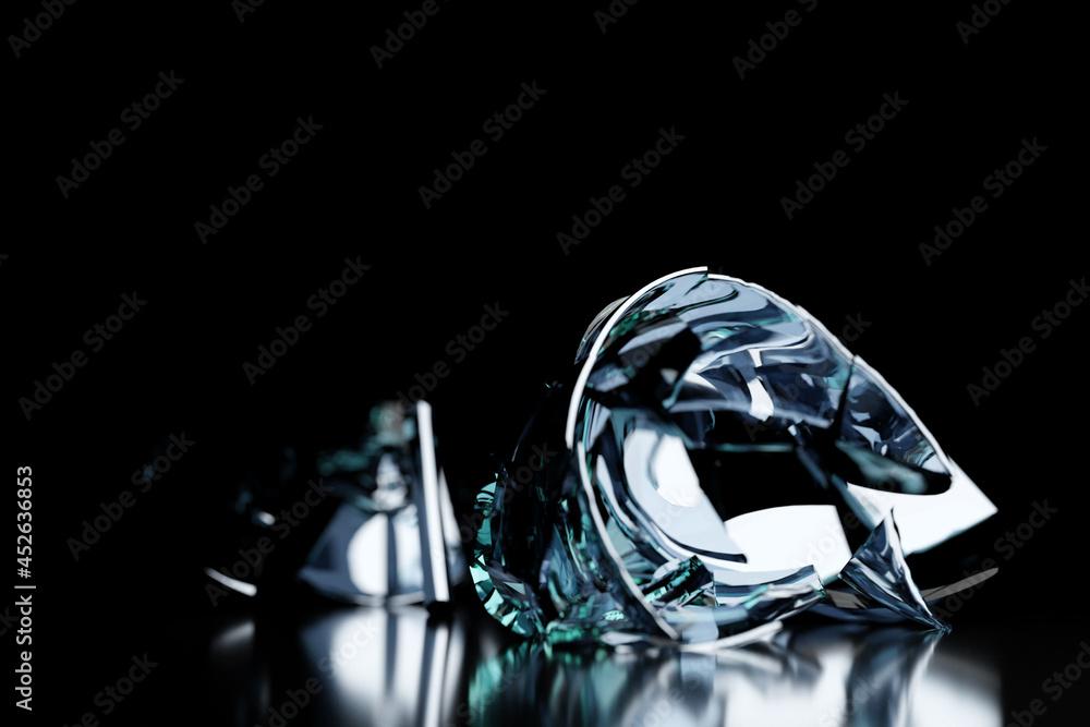 3D Render Broken Glass Realistic wine glass Mock Up, 3D illustration Graphic Design. - obrazy, fototapety, plakaty