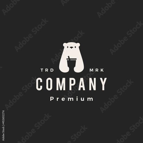 polar bear drink cup hipster vintage logo vector icon illustration Fototapet