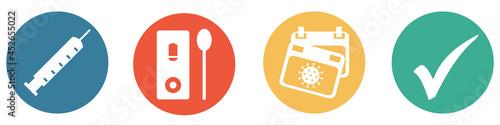Canvastavla Bunter Banner mit 4 Buttons: Geimpft, Getestet oder Genesen - 3G