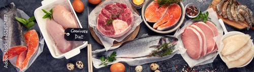 Fotografie, Obraz Carnivore diet on dark background.