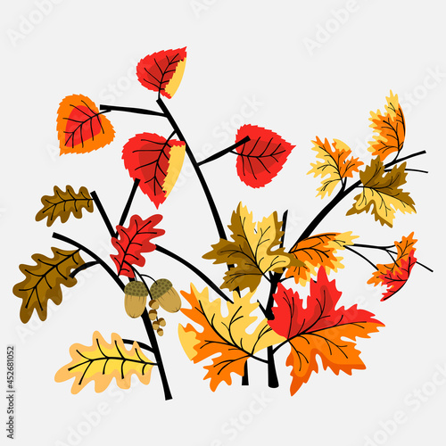 Obraz na plátně Set of branches with autumn leaves in flat cartoon style
